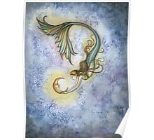Deep Sea Moon Mermaid Fantasy Art Illustration Poster