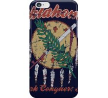 Vintage Oklahoma Flag Work Conquers All iPhone Case/Skin