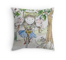 Jodi - Burning on your bike Fairy Throw Pillow