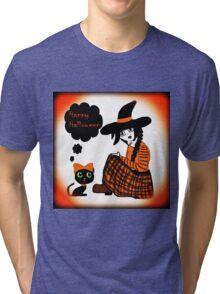 Anime Sitting Halloween Witch Tri-blend T-Shirt