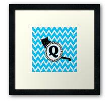 Q Cat Chevron Monogram Framed Print
