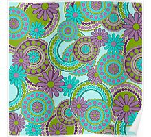 Retro Mod Purple, Green Abstract Floral Poster