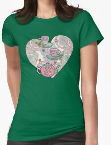 You, me, plus tea. Womens Fitted T-Shirt