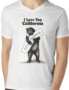 Vintage I Love You California Mens V-Neck T-Shirt