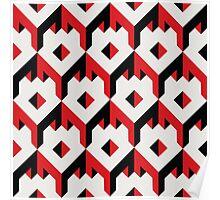 3d cube pattern - geometric design -seamless Poster