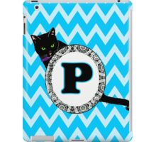 P, Letter, alphabet, kitty, pattern, black cat, gretzky, monogram, chevron, aqua, blue iPad Case/Skin