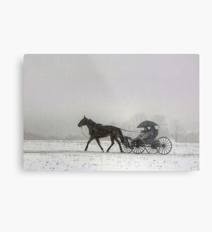 Romantic Buggy Ride In The Snow Metal Print