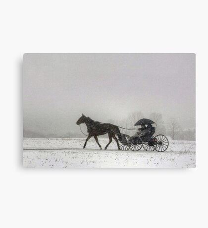 Romantic Buggy Ride In The Snow Canvas Print