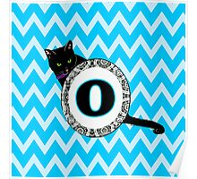 O Cat Chevron Monogram Poster