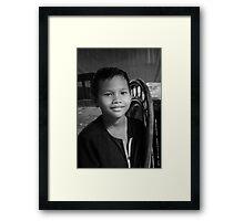 bw sweet boy Framed Print