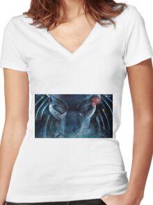 Mortal Kombat: Predator  Women's Fitted V-Neck T-Shirt