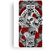 Day of the dead sugar skull celtic cross pocket watch mexican tattoo girl Canvas Print
