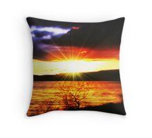 Sunset Over Carron Valley Reservoir. Throw Pillow