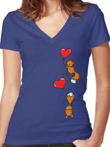 Playful Foxes Women's Fitted V-Neck T-Shirt
