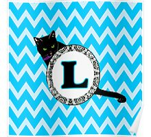 L Cat Chevron Monogram Poster