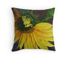 """Sunflower, Turning"" Oil on Canvas Throw Pillow"