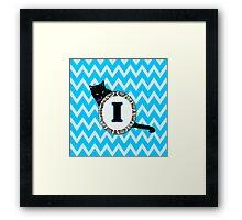 I Cat Chevron Monogram Framed Print