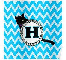H Cat Chevron Monogram Poster