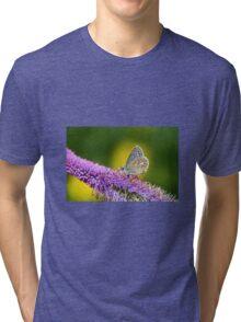 Silver-studded Blue Butterfly Tri-blend T-Shirt