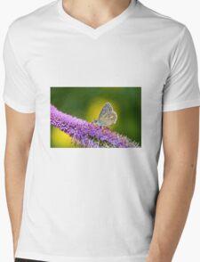 Silver-studded Blue Butterfly Mens V-Neck T-Shirt
