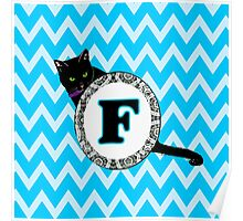 F Cat Chevron Monogram Poster