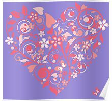 Pink patterned heart Poster