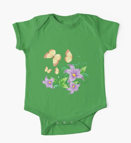Cute butterflies in flowers One Piece - Short Sleeve