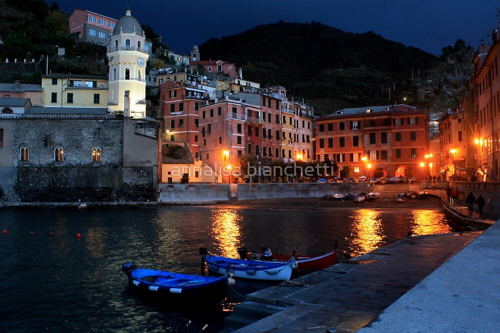 The harbor of Vernazza by night  by annalisa bianchetti