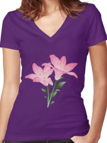 Pink watercolor flowers Women's Fitted V-Neck T-Shirt