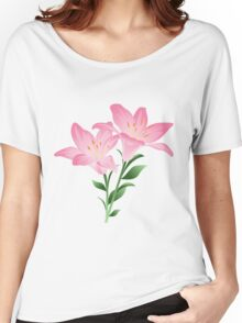 Pink watercolor flowers Women's Relaxed Fit T-Shirt