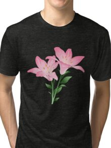 Pink watercolor flowers Tri-blend T-Shirt