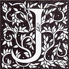 """Art Nouveau """"J"""" (William Morris Inspired) by Donna Huntriss"""
