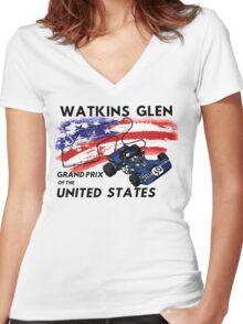 Jackie Stewart at Watkins Glen Women's Fitted V-Neck T-Shirt