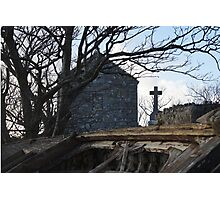 Old Graveyard Cross Boat Photographic Print