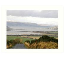 Lough Swilly with snow capped Donegal Hills - Donegal Ireland  Art Print