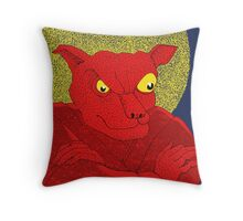 Red Cat Demon up to no good under a bad moon Throw Pillow