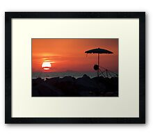 Sunset with mustache Framed Print