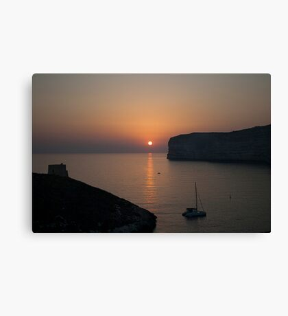 Sunset at Xlendi Canvas Print