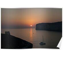Sunset at Xlendi Poster