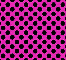 Retro Pink and Black Polka Dot Pattern by iEric