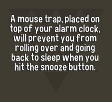 A mouse trap' placed on top of your alarm clock' will prevent you from rolling over and going back to sleep when you hit the snooze button. by margdbrown