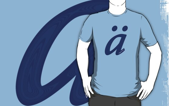 German 'a' with umlaut - navy blue by emilykperkin