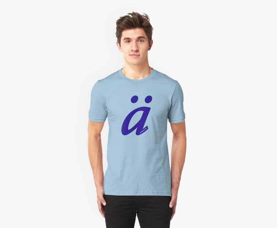 German 'a' with umlaut - navy blue by emilykperkin
