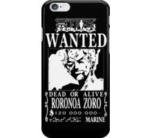 Wanted Bounty Zorro - White on Black iPhone Case/Skin