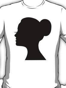 Woman's face with long lashes and neat bun T-Shirt