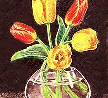Tulips Bouquet In Red And Yellow by Irina Sztukowski
