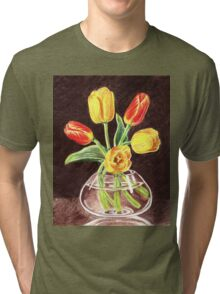 Tulips Bouquet In Red And Yellow Tri-blend T-Shirt