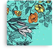 Hand Drawn Floral on Aqua Background Canvas Print