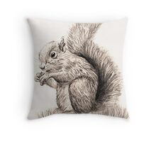 Hand Drawn Squirrel Throw Pillow