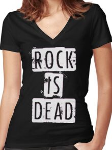ROCK IS DEAD! Women's Fitted V-Neck T-Shirt